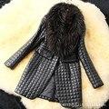 New fashion faux sheepskin coat women plaid leather raccoon dog fur collar black winter warm jacket female brand clothing z5