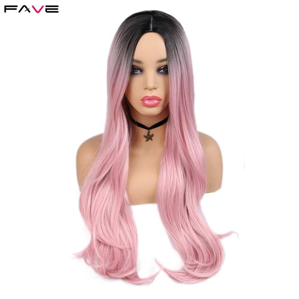 FAVE Heat Resistant Fiber Straight Wigs For Women Rose Gold Black Pink/99j/Green Cosplay High Density Hair Synthetic Wig