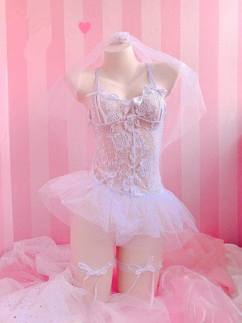 منظور لطيف الحلو الملابس الداخلية برعم قماش حريري ثوب نسائي الزفاف الغريبة مثير ازياء الجنية الدانتيل الشفاف pettiدرجات ستة مجموعات