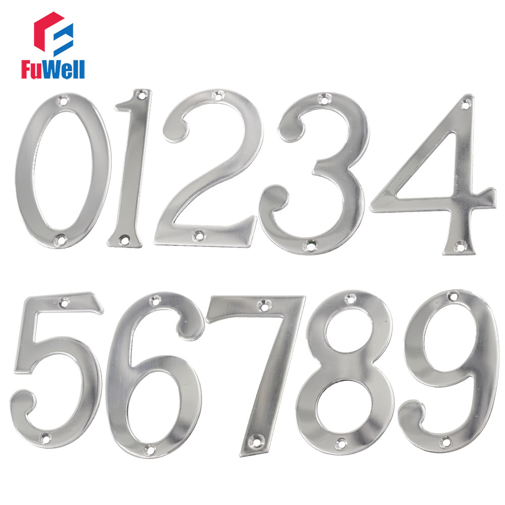 Door gate// wall//number plate old silver stainless steel 75mm stick on