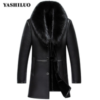 2018 Fashion Vintage Retro Mens Formal Coats Slim Fit Single Breasted Turn Down Collar Fox Collar Warm Outwear Geninue Leather