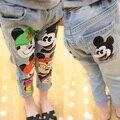 Hight quality impreso largos pantalones vaqueros para niños niñas y los niños pantalones pantalones de cintura elástica envío de la gota