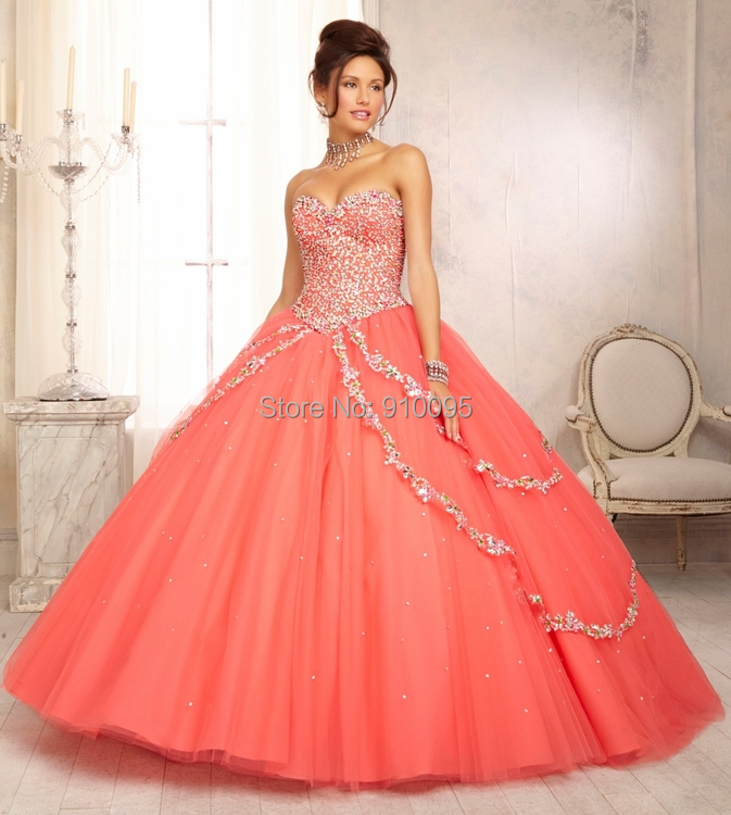 Aliexpress.com : Buy Coral Puffy Quinceanera Dresses for ...