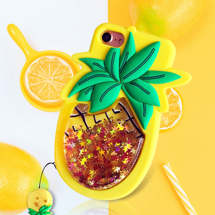Mr.orange Fashion Liquid Quicksand Case For iPhone X 6 6S 7 8 Plus 3D Star Sequin Pineapple Soft Silicone Phone Cases