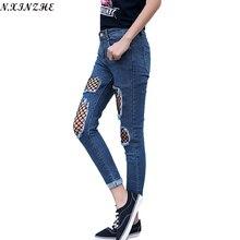 Н. XINZHE Отверстие Сетки boyfriend рваные джинсы Для Девочек Высокой талией Случайных брюки Тощие Прохладный Джинсовой Карандаш Брюки стрейч женщины