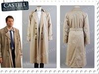 Supernatural Hunter Angel Emmanuel Cas Castiel Trench Coat Cosplay Costume Suit