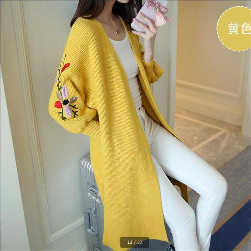 2019 новый осенне-весенний женский свитер кардиганы Повседневный теплый длинный дизайн Женский вязаный свитер с принтом кардиган свитер пальто ok258