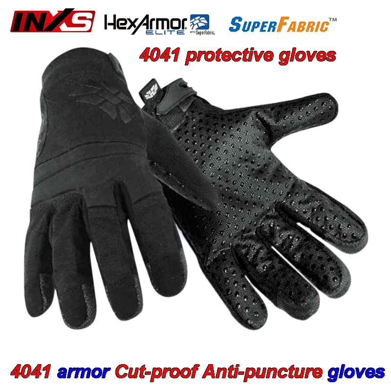 INXS 4041 Cut-proof Puncture-proof gloves Armor type design Palm Dot beads Military gloves Cutting puncture damping gloves europe and the authentic proof cut glove cut against blade puncture proof black cloth gloves gloves category 5 wire page 8