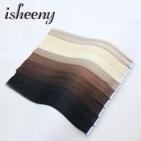 Isheeny 14 18 20 22 24 Tape In Human Hair Extensions Straight Remy On Adhesive Invisible