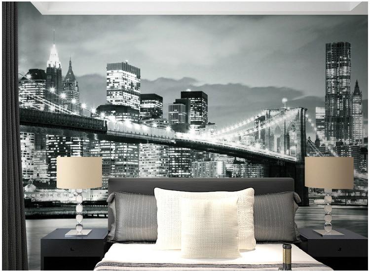 black and white new york city street 3d mural wallpaper living room