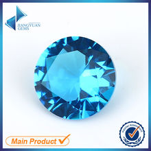 100pcs 5.0-20mm Dark Aquamarine Color Round Shape Machine Cut Loose Blue Glass Gemstone Glass Beads Synthetic Gems