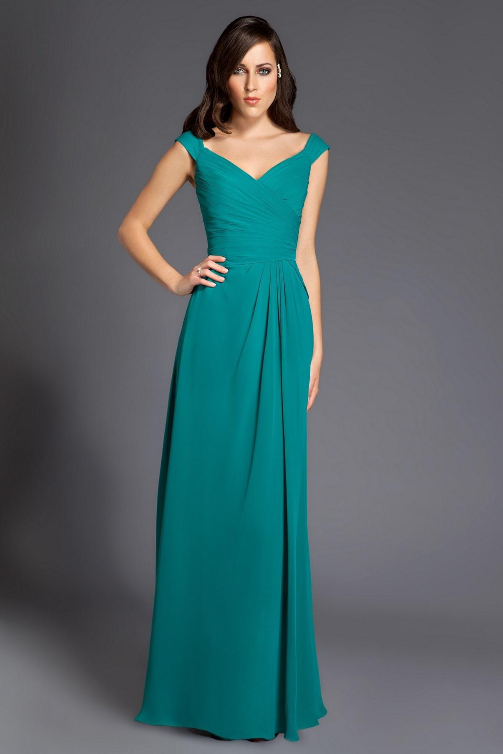Cheap 2015 Chiffon Hunter Mint Green Bridesmaid Dresses Floor Length ...