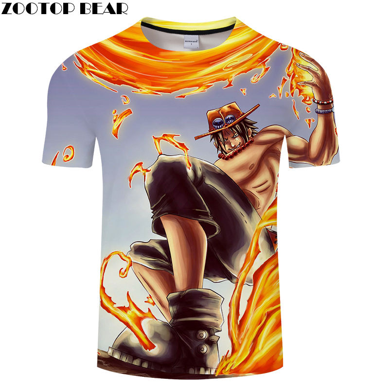 Fire Speed Funny Men Shirts Short Casual Shirt Summer Anime One Piece Brand 2019 Fashion Breathable 3D Print t-shirt ZOOTOP BEAR