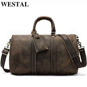 WESTAL мужская дорожная сумка из натуральной кожи для багажа, дорожная сумка, чемодан для переноски, мужские сумки, большие сумки для выходных, ...