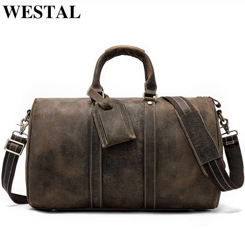 Us 76 44 48 Off Westal Men Genuine Leather Travel Bag For Luggage Duffle Suitcase Carry On Male Bags Weekend 9016 In