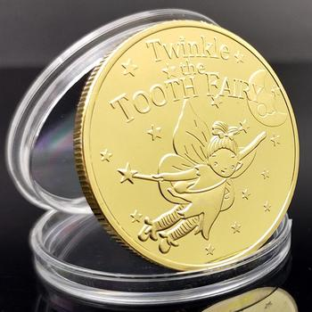 1Pc Cartoon Tooth Fairy Zinc Alloy Commemorative Coin Children Collection Gift For Babies Children tooth avulsion in children parental awareness