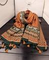 Bohemian scarf luxury brand 2016 women girls autumn spring boho ethnic long orange geometric pattern tassels scarf muffler cape