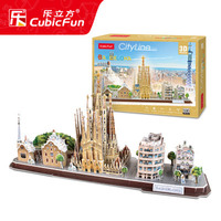 3D puzzle toy paper model city line Spain Barcelona Azulgrana famous building famous tourist attraction feature scenic spot set