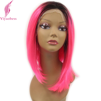 Yiyaobess 14inch Glueless Short Straight Lace Front Wig Synthetic Pink Purple Green Purple Red Ombre Short Bob Wigs For Women
