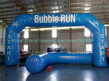 Blue air-tight PVC inflatable arch for commercial display or otherwise, with air pump.
