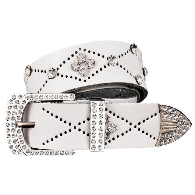 Women's Rhinestone Decorated Genuine Leather Belt