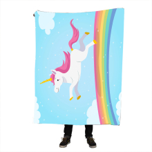 Unicorn Throw Blanket Kids Horse Sherpa Plaid Bedspread Floral Home Textiles Pink and Blue battaniye 150x200cm
