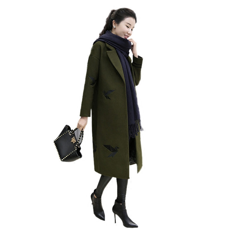 2018 Autumn And Winter Wool Coat Women Embroidery Army Green Cocoon Coat Long Parka Manteau Femme Hiver Woolen Coat Jacket C3744