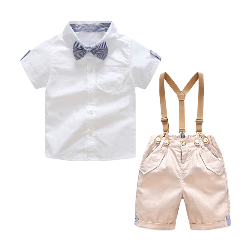 Toddler Baby Boys Gentleman Suits Summer Short Sleeve Bow tie White Shirt +Overallss Shorts Set Infant 2pcs Outfits