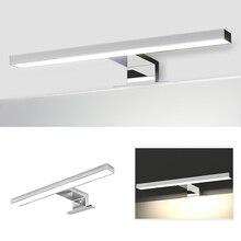 AC110 240V LED lustro przednie światła 5W 8W nowoczesne wodoodporne przeciwmgielne lustro łazienkowe lampa 2835 32/48LED prosty na ścianę lampa wystawowa