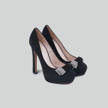 BASIC-EDITIONS Women Suede Leather Black Platform  Shoes Party Wedding High Heeled Shoes with Crystal Decoration – A2125A-68