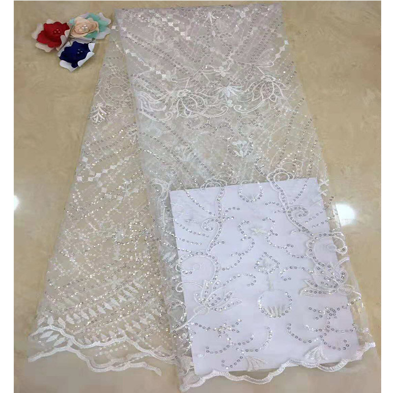 Gold Sequined Indian Lace Fabric 2018 White Nigeria Mesh Voile Net Tulle Guipure Lace African Women Evening Dress Sequins Fabric