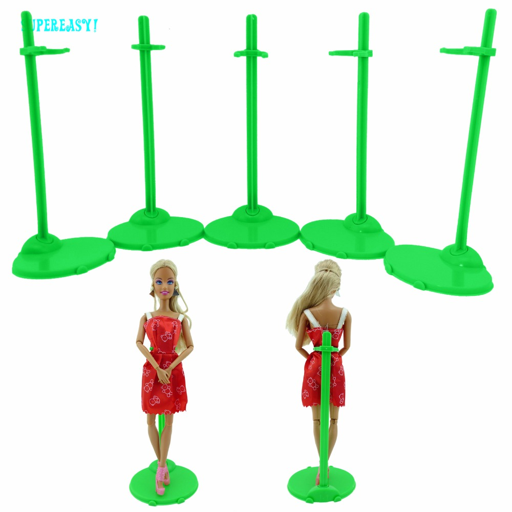 5pcs Green Doll Stands Figure Display Holder Toy Model Accessories For Barbie Doll Kurhn FR 12 1:6 Puppet Prop Dollhouse Toy