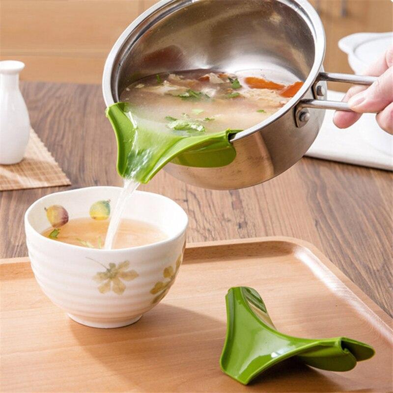 Silicone Anti-déversement créatif sans lacet verser entonnoir à bec verseur Pour casseroles et bols et Pots outil de Gadget de cuisine