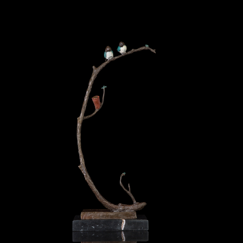 In Staat Atlie Bronzen Moderne Bronzen Standbeeld Ontwaken Van Lente Plant Arts Collectie Messing Casting Sparrow Sculpturen Pure Witheid