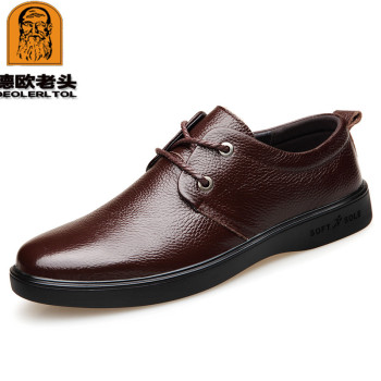 2019 New Men's Genuine Leather Shoes Black Soft Man Dress Shoes Brand Spring Soft Office Man Cowhide Shoes
