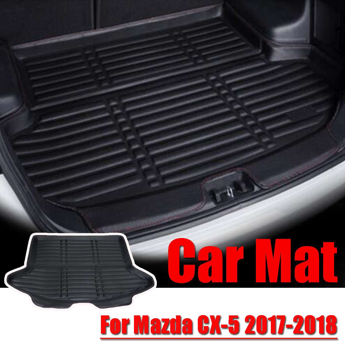 Boot Mat Rear Trunk Liner Cargo Floor Tray Carpet Mud Pad Kick Guard Protector For <font><b>Mazda</b></font> <font><b>CX</b></font>-<font><b>5</b></font> CX5 2017 <font><b>2018</b></font> Car styling image