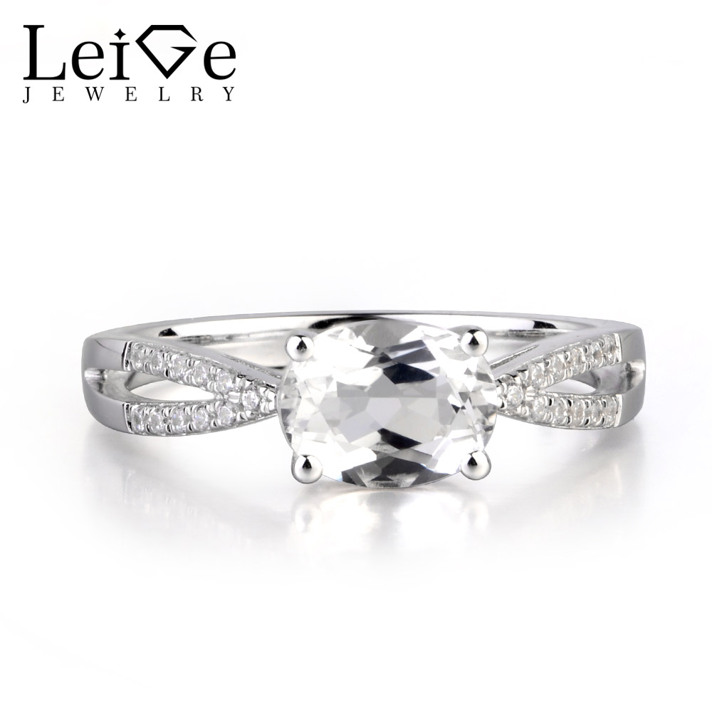 Leige Jewelry Natural White Topaz Gemstone Prong Setting Oval Cut Engagement Vintage Rings For Woman November BirthstoneLeige Jewelry Natural White Topaz Gemstone Prong Setting Oval Cut Engagement Vintage Rings For Woman November Birthstone