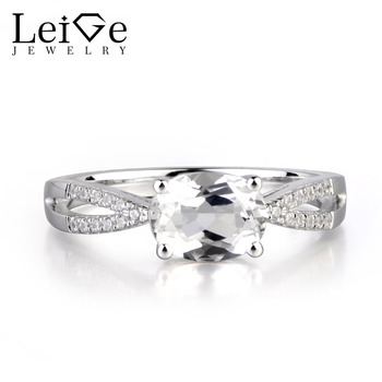 Leige Jewelry Natural White Topaz Gemstone Prong Setting Oval Cut Engagement Vintage Rings For Woman November Birthstone