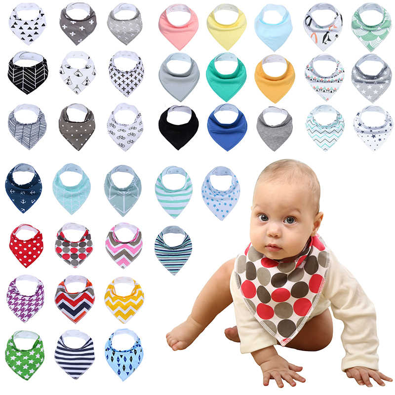 12 팩/Lot 100% Cotton Bandana Bibs for Drooling Teething 신생아 유아 Adjstable Snaps Absorbent Baby Bibs