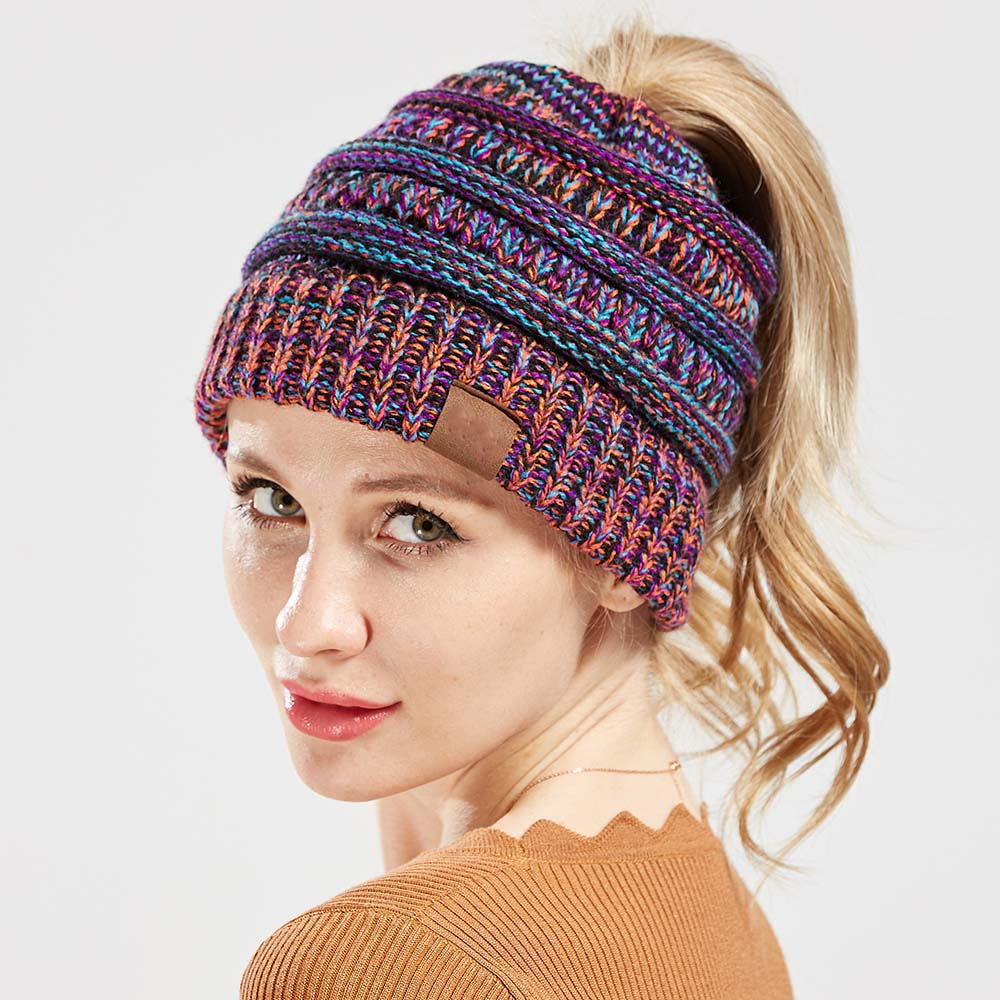 576c554b76a XDOMI New Women Knit Beanie Ponytail Messy Bun BeanieTail Multi Color Ribbed  Hat Winter Warm Cap Outdoor Casual Hats 7color-in Skullies   Beanies from  ...