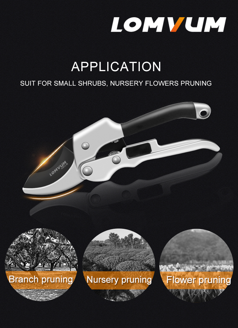LOMVUM High Quality Gardening Scissors for Pruning of Branches shrubs and flowers with Safety 7