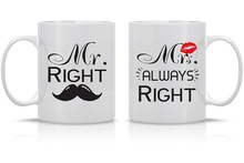 Mr. Right Mrs. Always Wedding Gift for Couple Funny Engagement Gifts Anniversary Present 11oz Ceramic Coffee Mug Set 2pcs