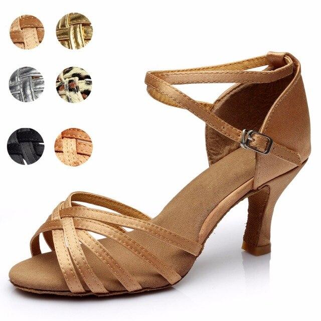 73a490e02f76c6 Łacińskiej standardowe buty damskie dziewczyny sandały wysokie obcasy  satyna/ze sztucznej skóry klamra Nude/