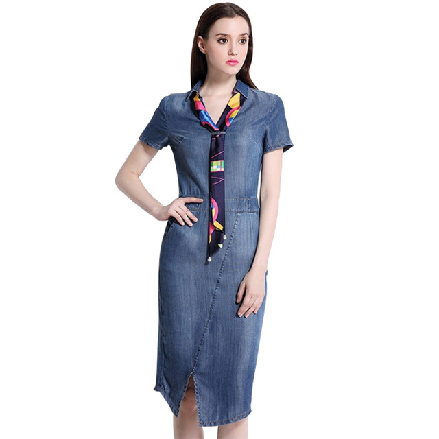 5xl Denim Dress Plus Size European Dresses 2018 For Women Summer New