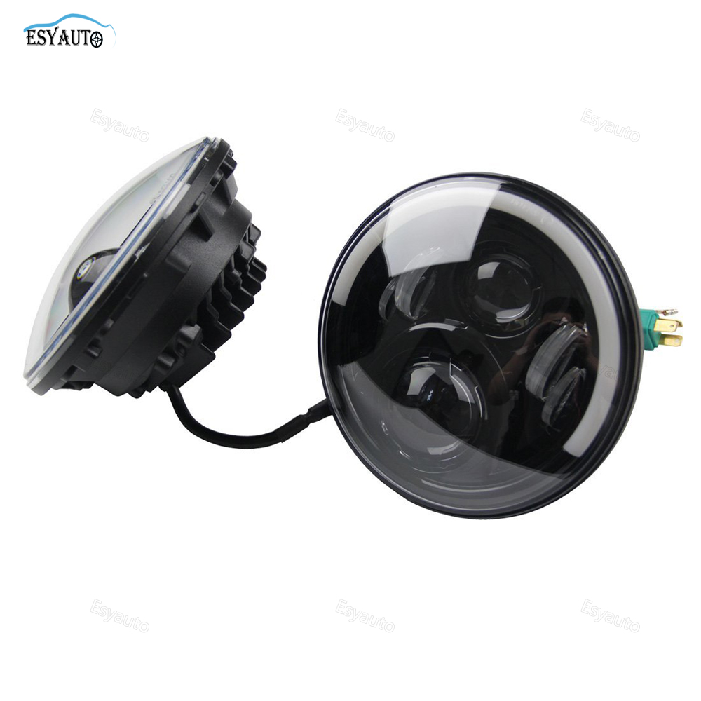 Pair 7 inch 60W Headlight With DRL&Soft Cornering Lamp Half Halo Ring Angel High/Low Beam Headlamp For Jeep Wrangler TJ JK LJ pair for 7 inch round headlight 12v 24v dc high low beam and angel eye led for jeep wrangler jk tj harley davidson motorcycle