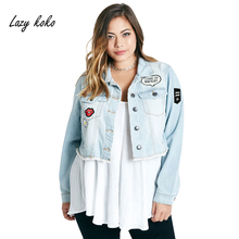 Lazy KoKo Women Plus Size Short Denim Jacket Coats with Patches Button Down Basic Jean Big Size Outfits 6XL