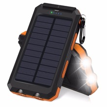 Waterproof Solar Bank 20000 mAh Dual USB External Polymer Battery Charger Outdoor Light Lamp bank for phone