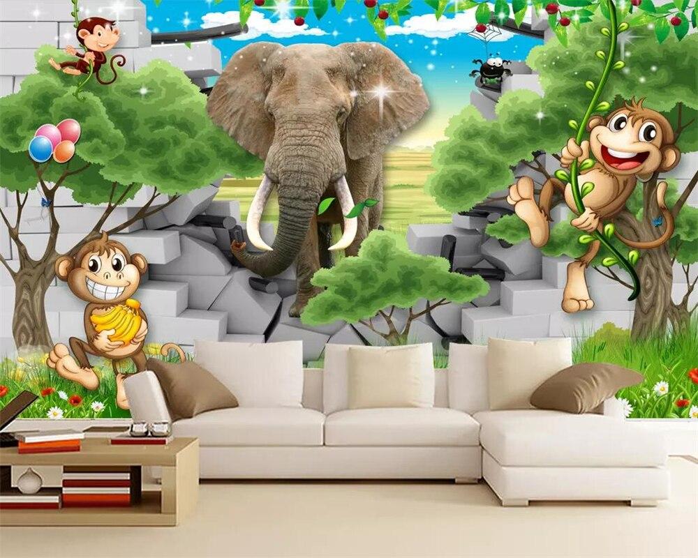 US $8 85 OFF Beibehang Lukisan Dinding Wallpaper 3d Pemandangan Indah Gajah Gambar Kartun Kamar Anak Anak Kamar Mural Dinding Kertas TV Sofa Latar