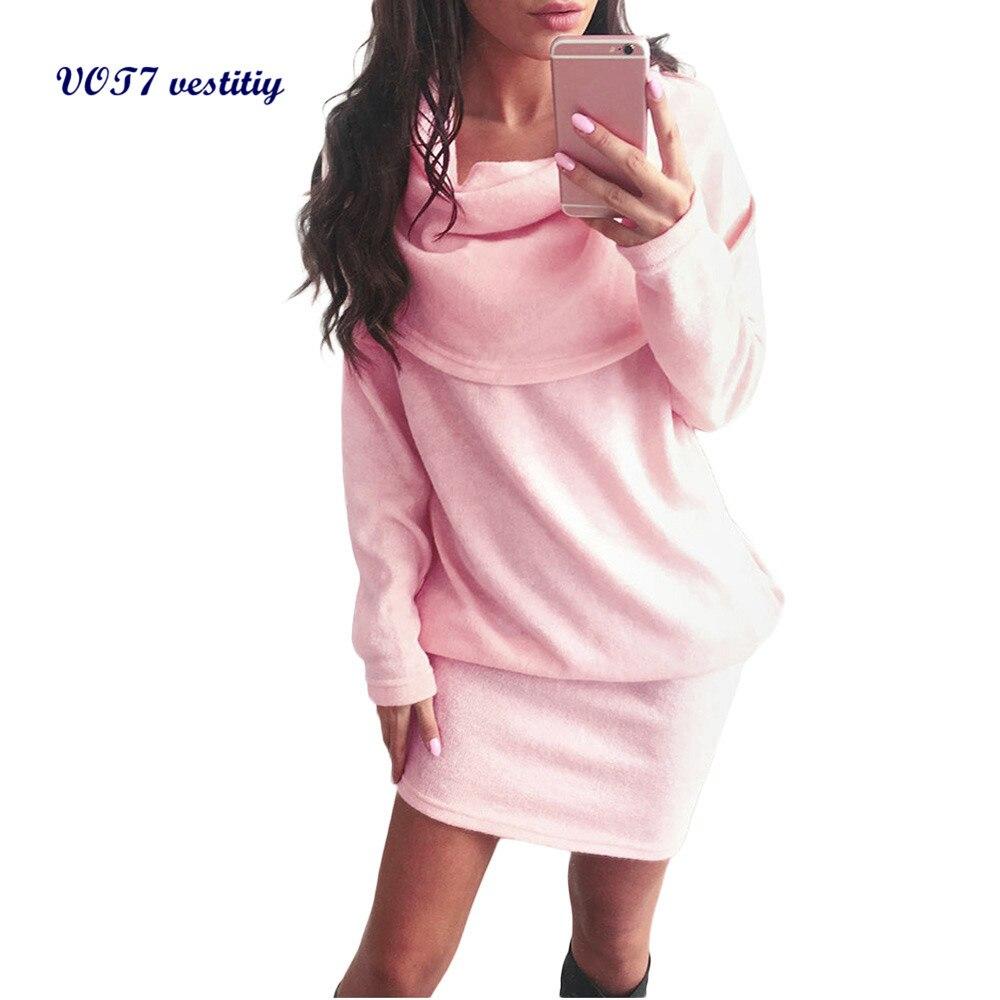 웃 유Sexy colorido vestido VOT7 vestitiy mujeres otoño manga larga ...