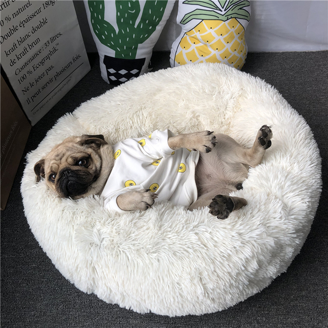 Super Soft Pet Bed Kennel Dog Round Cat Winter Warm Sleeping Bag Long Plush Puppy Cushion Mat Portable Cat Supplies 46/50/60cm 6
